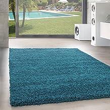shaggy hochflor langflor teppich wohnzimmer carpet uni farben rechteck rund gre - Wohnzimmer Teppich Turkis