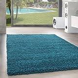 Unbekannt Shaggy Hochflor Langflor Teppich Wohnzimmer Carpet Uni Farben, Rechteck, Rund, Farbe:Türkis, Größe:140x200 cm