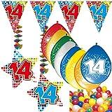 Carpeta 54-Teiliges Partydeko Set * Zahl 14 * für Kindergeburtstag Oder 14. Geburtstag mit Girlande, Rotorspiralen, Luftschlangen und Vielen Luftballons