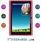 Haehne 7 Zoll Tablet PC, Google Android 6.0, A33 Quad Core, Bildschirm 1024x600, 1GB RAM 8GB ROM, Dual Kameras, WiFi, Bluetooth, für Erwachsener Kinder, Pink