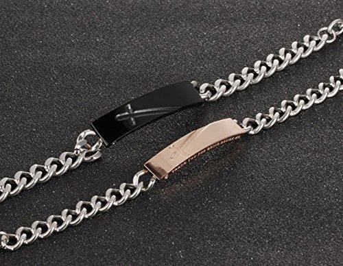 Flongo Acier Inoxydable Bracelet Fantasie Amour Couple Femme Homme Zircone Thank You For Being Beside Me Or Argent Noir Chic Chaine de Main Cadeau Saint Valentin Femme(Or)