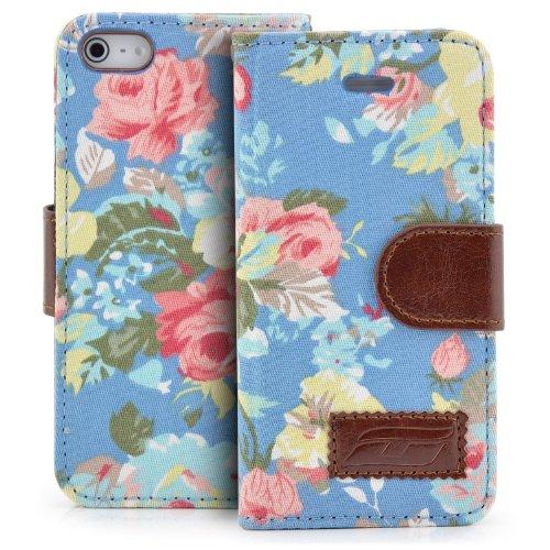 e für Apple iPhone SE / iPhone 5 / 5S Blumen Handy Flip Case Schutz Hülle mit Visitenkarten Fächer und Magnetverschluss Blau ()