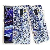 CLM-Tech kompatibel mit Samsung Galaxy A8 2018 Hülle, TPU Gummi Case Silikonhülle, Blume Ornament blau weiß