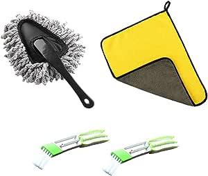Hantier 4 Stück Auto Staubwedel Kit Dusting Tool Mopp Mikrofaser Reinigungstuch Und 2 Stück Auto Innendetailbürste Zum Reinigen Von Automobilinnen Außen Leder Auto