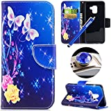Samsung Galaxy A5 2018 Cover Case,Etsue Luxury Portafoglio/Wallet Case PU Leather Case per Samsung Galaxy A5 2018,Magnetic Closure Case Stand Function e Credit Card Holder Cover Ultra-thin Leather Case Bookstyle Folio Flip Case Pure Color Case Farfalla Panda Animale Pattern Full Case [Shock-Absorption] Premium Leather Case Wallet Case with Interior Siliocne Soft TPU Protective Case for Samsung Galaxy A5 2018 +1X penna stilo blu+1X Bling Dust Plug(colore casuale)-Rose e farfalla