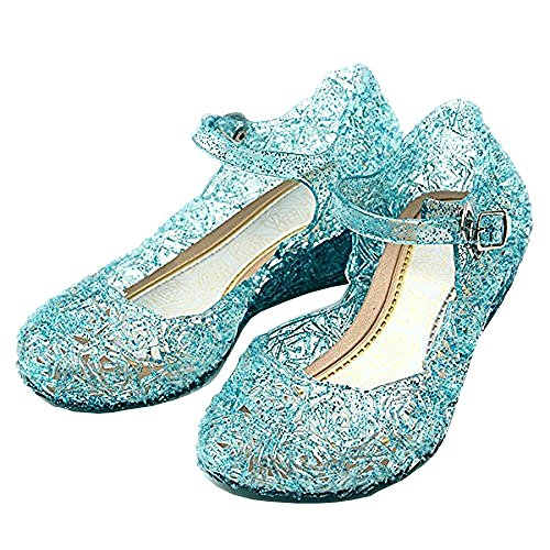 ❄ Größe 32 - Schuhe mit Keilabsatz und Riemen - ELSA Anna Cinderella - Für Mädchen ♀ - 19 cm Sohle - Blaue Farbe mit Pailletten - Halloween Karneval Kostüm Cosplay - Frozen Prinzessin (Gefrorene Prinzessin Anna Kostüm)