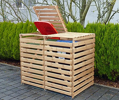 PROMADINO Mülltonnenbox VARIO V Müllbox für 2 Mülltonnen NATUR 425/11 Holz