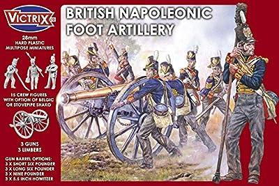 British Napoleonic Foot Artillery - 28mm Wargaming Miniatures - 3 Guns - 3 Limberts - 15 Crew Figures