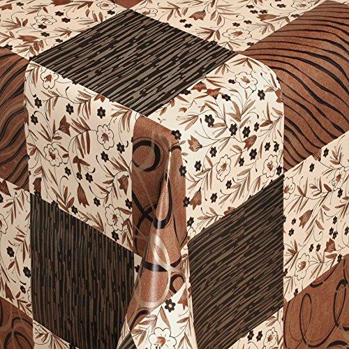 Wachstuch Tischdecke Gartentischdecke mit Fleecerücken Gartentischdecke, Pflegeleicht Schmutzabweisend Abwaschbar Quadrate Braun Schwarz 140x 140 cm - Größe wählbar
