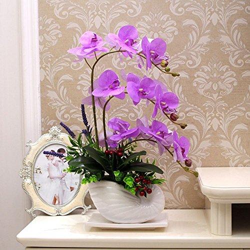 Flinfeays fiori artificiali fiori finti phalaenopsis creativo fai da te finestra di nozze stand partito cucina casa arredamento in ceramica pentola viola -06