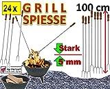 24 Stück RIESEN-LANGE 100 cm Grillspieße für Picknickset Picknick-Grill Campingkocher &...