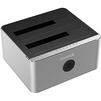 "[2 baies SATAIII clone/UASP/8 To] Inateck 2 baies USB 3.0 Station D''accueil docking Aluminium station pour SATA disques durs 2.5""et 3.5"" Duplicateur HDD/SSD une touche back-up, Clonage hors ligne"