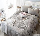 Baumwolle Bettbezug-Set Gestreiftes Gitter Erwachsene Jugendliche Mikrofaser Steppdecke & Kissenbezug Allergiker Deckenbezug 4 Teilige, Light Coffee, 220X240Cm