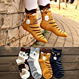 Womens Cat Socks Girls Cartoon Animal Funny Comfortable Casual Cotton Novelty Crew Socks 4 Pack