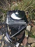 Grablaterne aus Edelstahl 26cm x 13,5cm inklusive Granitsockel Schwarz Rund Edelstahllampe Leuchte aus Edelstahl Grablicht Grablaterne Grablampe aus Edelstahl mit Sockel 19cm x 19cm x 5cm