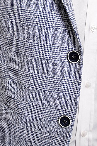 Giacca da Uomo in Blazer Casual o Formale Motivo a Scacchi Pulsanti a Contrasto Slim Fit Cotone Blu