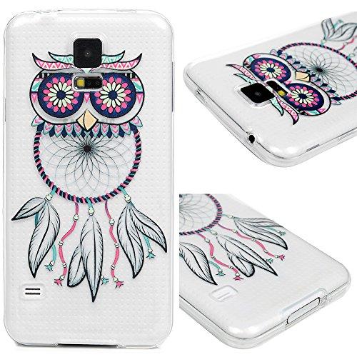 für Samsung Galaxy S5 9600 Hülle Silikon Case Ultra Dünn Handyhülle Schutzhülle Transparent Handyschale Handytasche Malen Tasche TPU Durchsichtige Schale Etui Eule Monternet Traumfänger