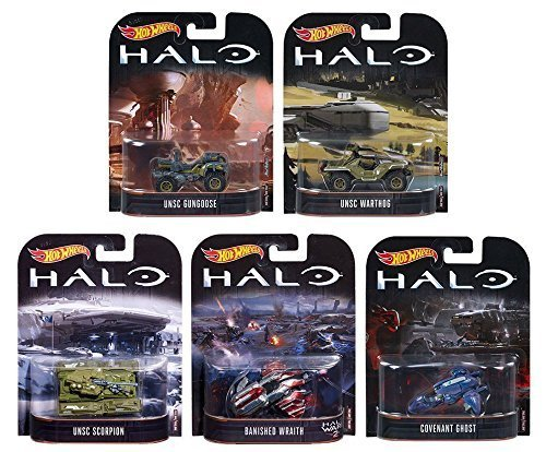 Toys Halo Hot (Hot Wheels HALO 5 teiliges Fahrzeug Set - UNSC Scorpion, UNSC Warthhog, UNSC Gungoose, Banished Wraith, Covenant Ghost - Die Cast Fahrzeuge im Maßstab 1 : 64)