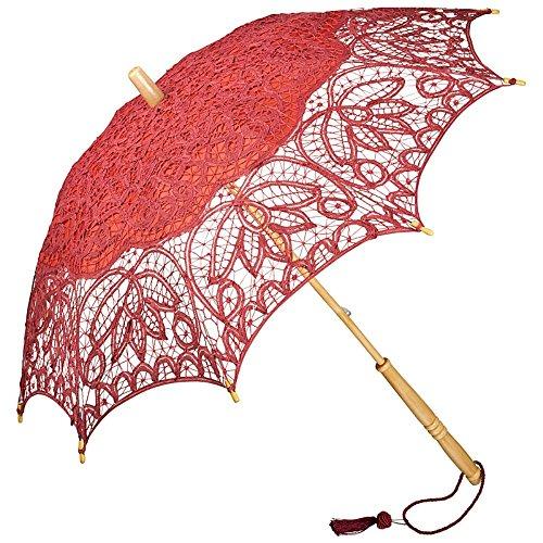 Jährige 100 Kostüm Dame - VON LILIENFELD Spitzenschirm Damen Sonnenschirm Brautschirm Hochzeitsschirm Vivienne Battenburg Spitze Langer Stock aus Holz verspielte Troddelquaste Burgunderrot/Bordeaux