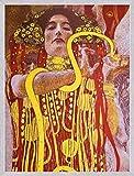 1art1 Gustav Klimt Poster Kunstdruck und MDF-Rahmen Holzoptik Aluminium Gebürstet - Hygieia, Detail aus der Medizin, 1900-1907 (80 x 60cm)