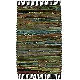 Fair Trade handgefertigt Chindi indischen Flickenteppich recycelte Baumwolle & Fleece, Textil, grün, 60 x 90 für Fair Trade handgefertigt Chindi indischen Flickenteppich recycelte Baumwolle & Fleece, Textil, grün, 60 x 90