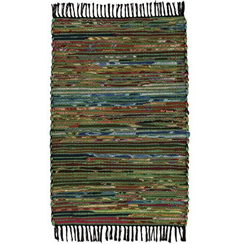 fair trade teppiche Fair Trade handgefertigt Chindi indischen Flickenteppich recycelte Baumwolle & Fleece, Textil, grün, 60 x 90