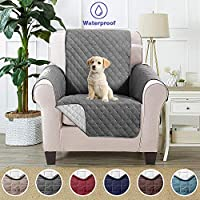 Sofa Cover 1 Seater Slipcovers Anti Slip Sofa Protector Cover Water Resistant Furniture Protector,Furniture Slipcover,Reversible Furniture Protector for Dogs, Pets and Dirt Proof ( 165 x 190 cm, Grey)