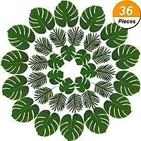 36 Piezas 2 Tipos de Hojas Artificiales de Palma Hojas Tropicales de Monstera para Decoración, Verde