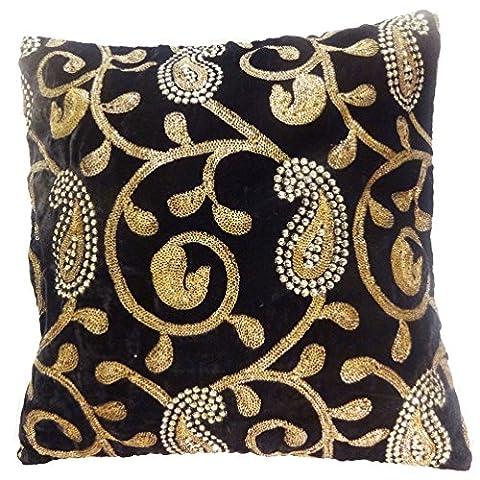 Indian Pillow Case Paisley Embroidered Home Decor Black Cushion Velvet