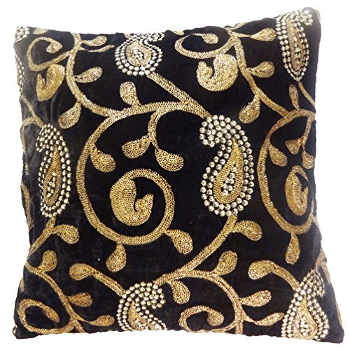 indiano federa Paisley ricamato Home Decor nero cuscino in velluto di 40,6cm