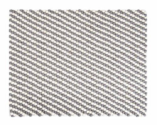 Kukee: rechteckig Weiß Grau Rechteck Balls Woolen Filz-Teppich auf Verkauf, Filzkugeln (80cm x...