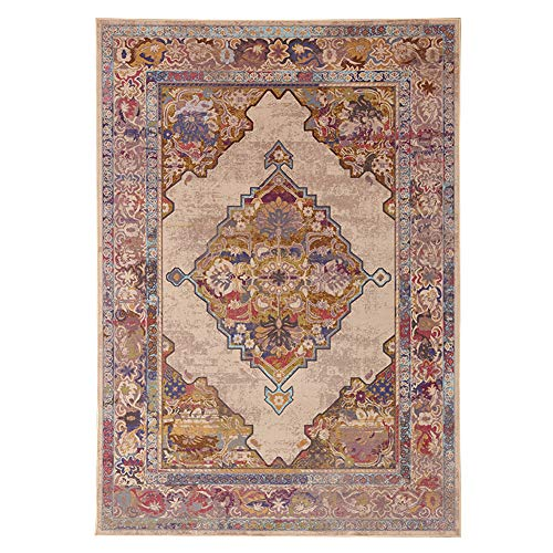 Cosyhouse classico tradizionale persiano tappeti tappeti per soggiorno e camera da letto, antiscivolo imbottita anticata beautiful vintage floreale quadrato tappeto, polipropilene, camel, 120cm*160cm