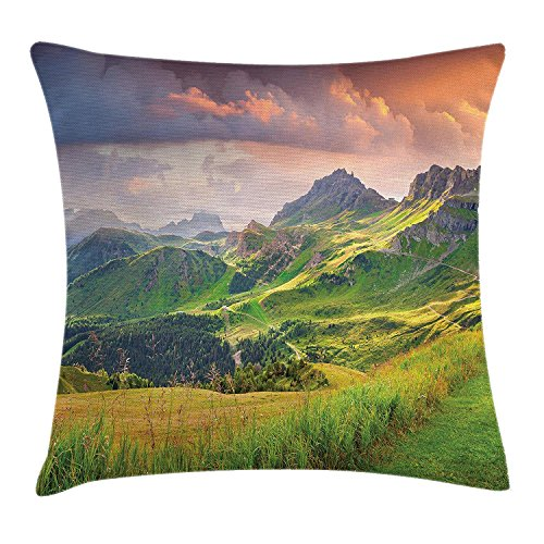 VTXWL Lake House Decor Throw Pillow Cushion Cover by, Summer Landscape of Italian Alps at Sunset Meadow Serenity in Nature, Decorative Square Accent Pillow Case, 18 X 18 Inches, Green White -