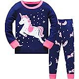 LitBud Girls Pajamas Unicorn,Sleepwears 2pcs Long Sleeves Pjs Nightwear Tops + Pants Sets Nightwear Outfits for Kids Toddler