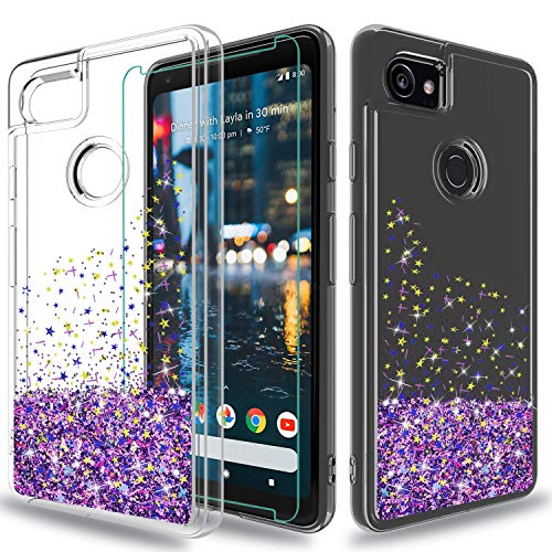 Wtiaw Google Pixel XL 2 Case with HD Screen Protector, [Quicksand Glitter Series] Liquid Transparent TPU Gel Elastic Silicone Shockproof Protective Phone Cover Cases for Google Pixel XL 2-SA Purple Silicon Case Protector Cover
