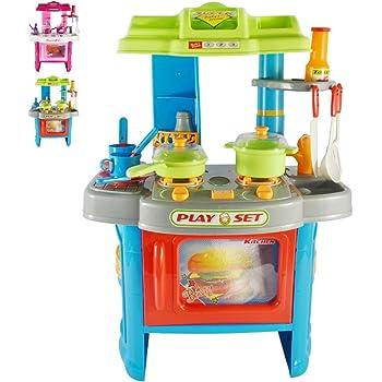 Cucina Giocattolo per Bambini con Effetti Luce e Suono   L/P/A: ca. 42/27,5/60 cm, in Plastica, con Stoviglie   Cucina per Bambini, Cucina da Bambina   Blu