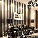 AIEK Modern Vliesstoffe Schwarz-Weiß Braun Farbe Blau und Weiß Gestreifte Tapeten Schlafzimmer Restaurant Wohnzimmer TV Wand,11038, 1