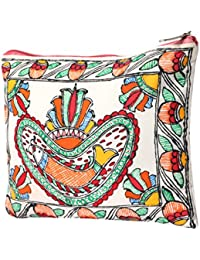 IMithila Mithila Folk Art Casual, Ethnic And Jeanswear Madhubani Handpainted Cotton Pouch With Beautiful Floral...