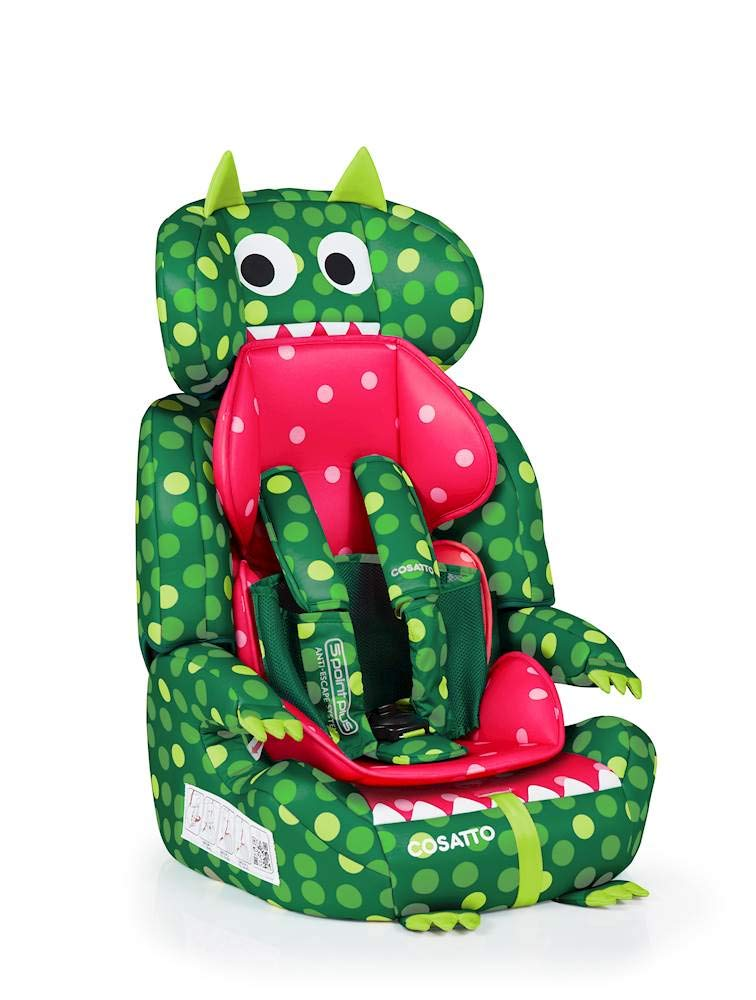 Cosatto Zoomi Group 123 Car Seat, 9-36 kg, Dino Mighty Cosatto Suitable from 9 kg-36 kg (9 months - 12 years approximately), Zoomi is an investment; it fits forward-facing with a standard 3-point vehicle seat belt It features the exclusive five point plus Anti-Escape system, great for keeping little wrigglers in place, plus side impact protection for in-car security The comfy padded seat and adjustable headrest grow with your child; it is easy to clean with removable washable padded liner and covers 4