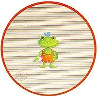Spiegelburg Garden Oskar der Frosch - Kinderteppich Ø100 cm Rund Farbe Weiss, Öko-Tex zertifiziert für Kinderzimmer und Babyzimmer, freundliche Bildmotive