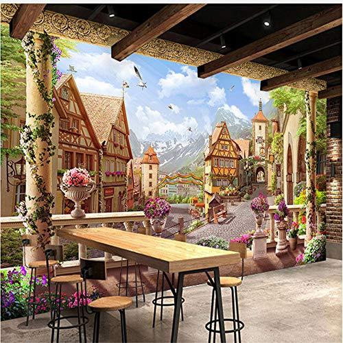 Guyuell Benutzerdefinierte Wandbild Tapete Europäischen Stil Retro Märchen Stadt Gebäude Fototapete Für Wände 3D Restaurant Cafe Hintergrund Wand-450Cmx300Cm