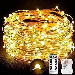 TOPLIFE Cadena de Luces, 10M 100 LED Guirnalda de Luces Impermeable Alambre de Cobre de 8 Modos de Luz con Control Remoto para Lluminación DIY Habitación Fiesta Jardín Boda Césped Árbol etc