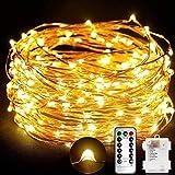 Stringa luci, Catene luminose 10M 100 LED Impermeabile Filo di Rame di 8 Modalità di Luci con Telecomando per Illuminazione Fai da Te Natale Decorazioni per Feste Giardino Matrimoni ecc(Caldo giallo)