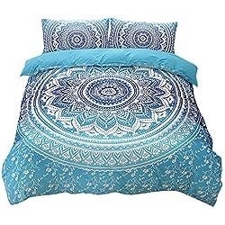 Shamdon 3-teilige Bettwäsche Set Böhmischer nationaler Stil aus Polyster inkl.1x Bettbezug, 2xKissenbezüge,200x200 cm,200x230 cm, 230x260 cm (200x200 cm, Blau)