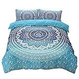 3Set sehr weich stoff Bohemia Stil, Quilt, Bettwäsche-Set mit Kissen in verschiedenen Größe, blau, King(220x240 cm)-fit for 1.8/2M bed