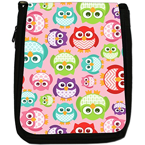 Big Eye Gufo carta da parati Medium Nero Borsa In Tela, taglia M Big Eye Kawaii Owls