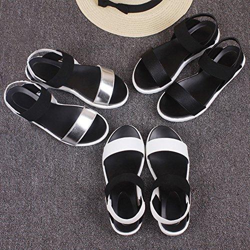 FEITONG Sommer Sandalen Frauen Flache Römisch Bequeme Schuhe Schwarz