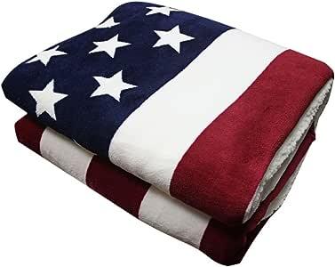 Taotree Douce et Épais Couverture Polaire Bonne Qualité 51inch×63inch USA Drapeau Blanket pour un Lit Une Place, Chambre à Coucher et Canapé