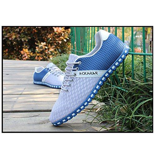 CHNHIRA Unisex Herren Schnuren Laufschuhe Helle Profilsohle Sportschuhe Flats Runners Sneaker Sport Turnschuhe Light-Blue