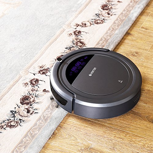 EVENTER vacuum Cleaning Robot with Strong Suction Self-Charging Drop-Sensing Technology High Suction Roller Brush Design UV Mute Cleaning HEPA System for Pet Fur Allergens, Self-Docking and Self-Charging for Dust, Hard , Low-Pile Carpet /Grey
